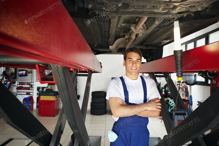 Portrait Of Man Working As Mechanic Repairing Car