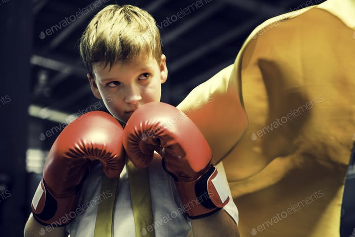 Superhero Champion Boxer Boy Strength Fighter Concept