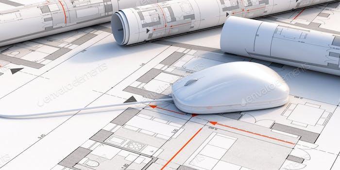 Computer mouse on blueprint plans background. 3d illustration