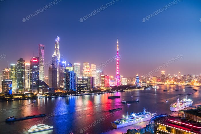 night shanghai of north bund