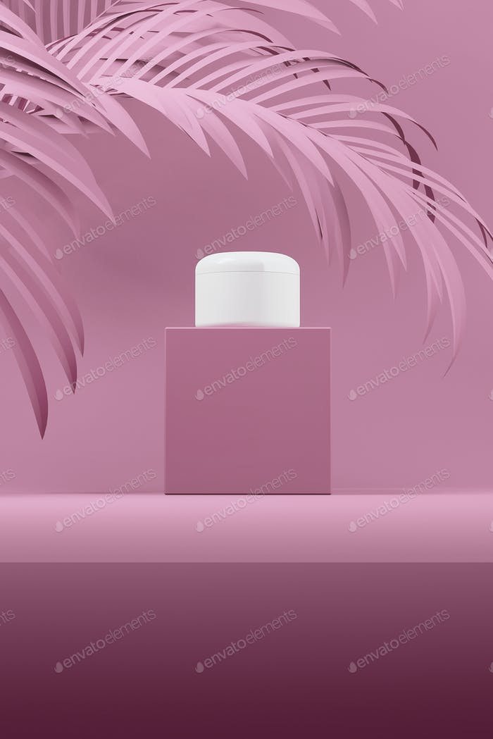 Color pink design of natural cosmetic cream, serum, skincare blank bottle packaging with leaves herb