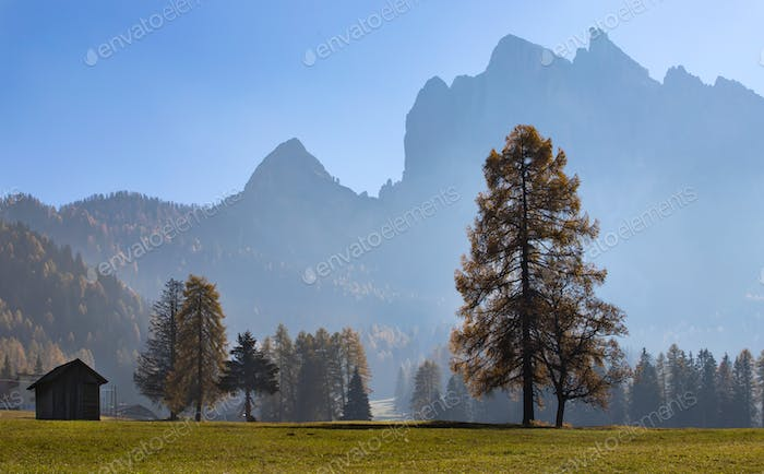 Sunny autumn day in Dolomite mountains.