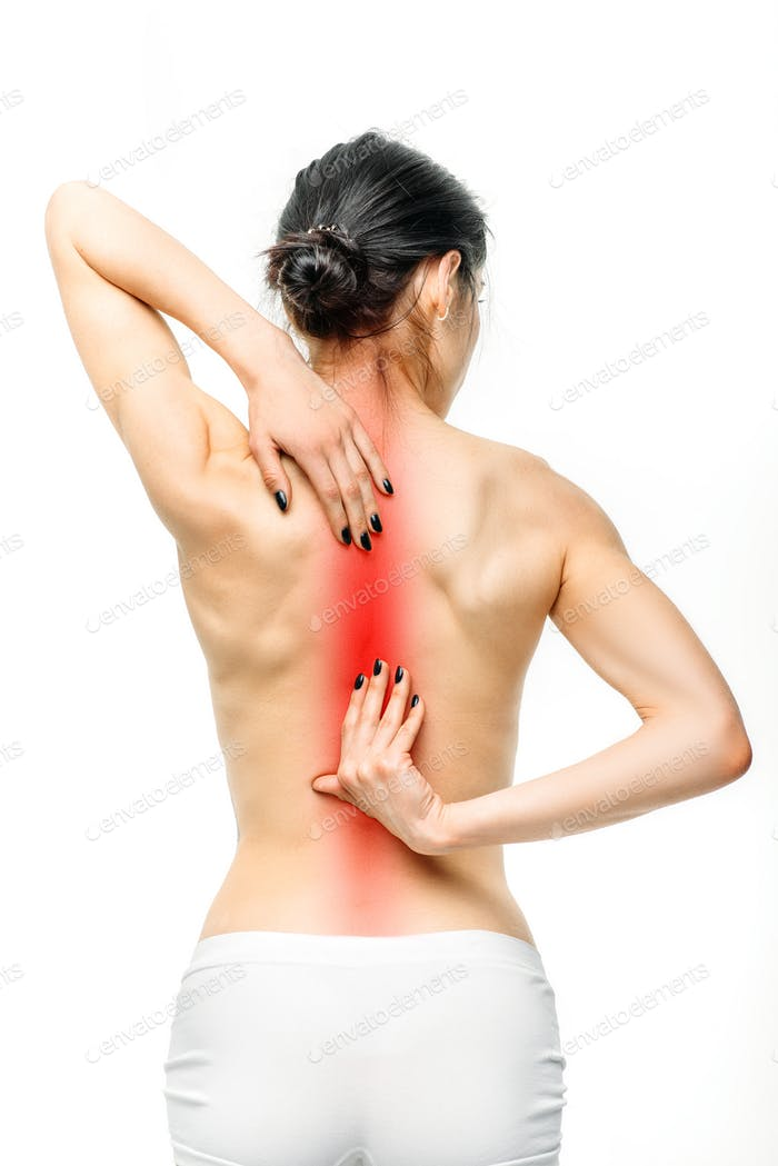 Female person with backache on white background