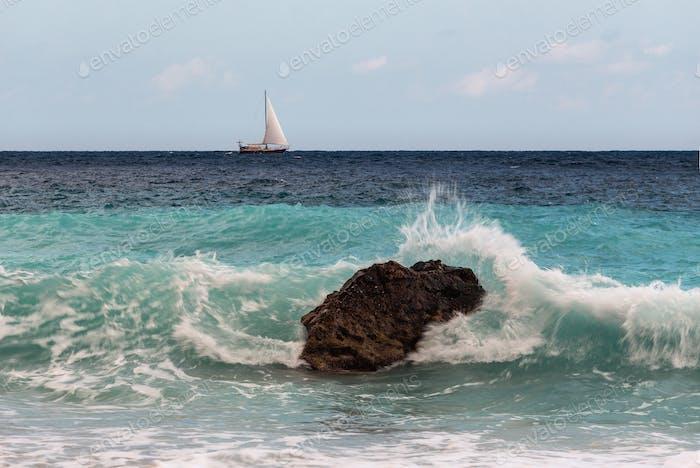 Sailing Boat In The Open Sea 3