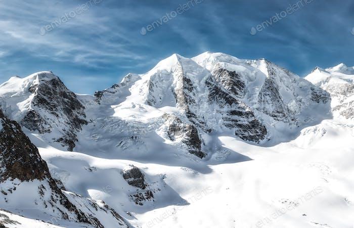 Mountain panorama of the Rhaetian Alps Piz Palu