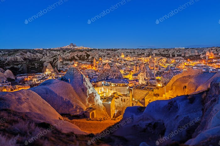 Night Goreme city, Turkey