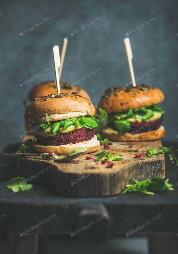 Healthy vegan burger with beetroot-quinoa patty, clean eating concept