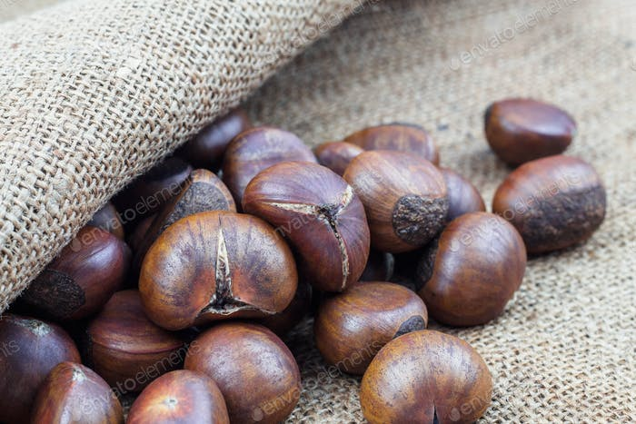 chestnuts on sackcloth