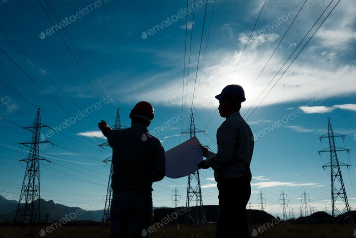 workers at electricity station