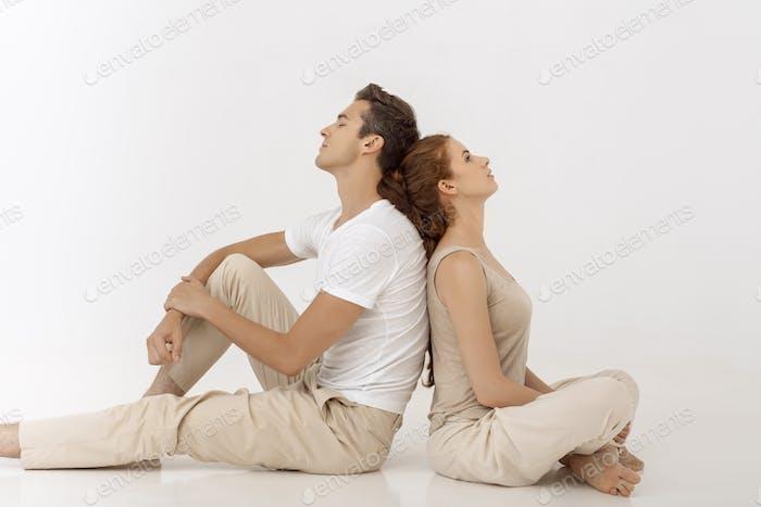 Yound couple indoors in studio