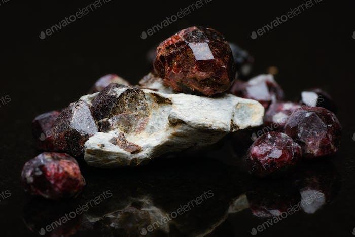 Uncut Garnet Stones Closeup