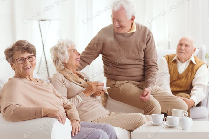 Retired people spending time together