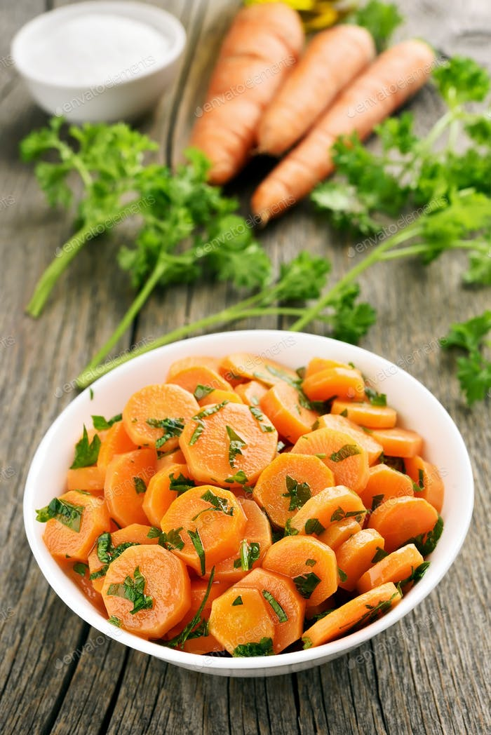Carrot salad in white bow