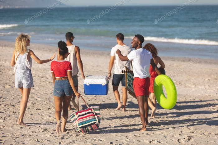 Rear view of group of happy diverse friends walking together on the beach