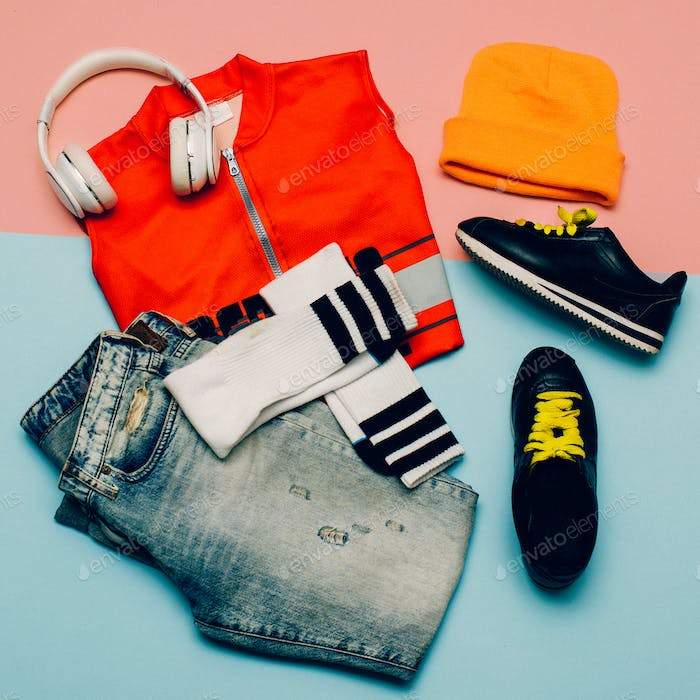 Stylish Urban set. Jeans. Knee socks. Bright Sports Summer Outfi