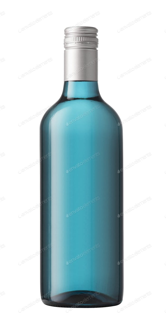 Blue gin bottle isolated