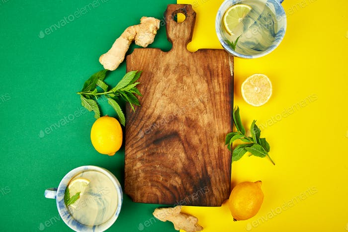 Ingredients for hot tea with ginger, lemon, mint