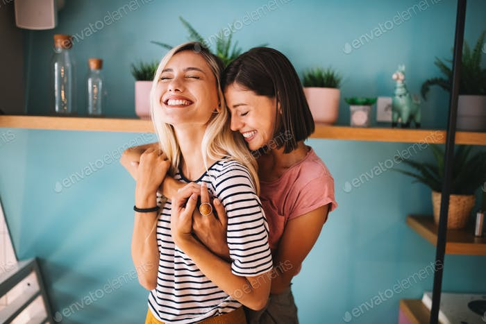 LGBT Lesbian couple love moments happiness concept