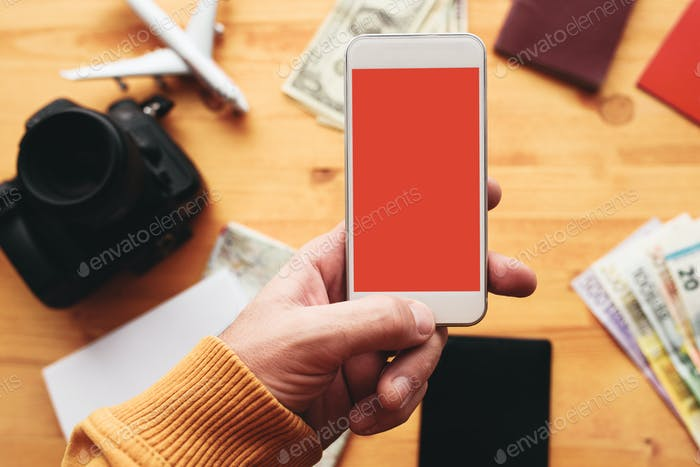Travel app for mobile phone mock up screen