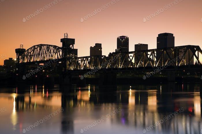 Sunset in Little Rock, Arkansas.