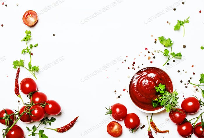 Spicy tomato ketchup sauce with herbs