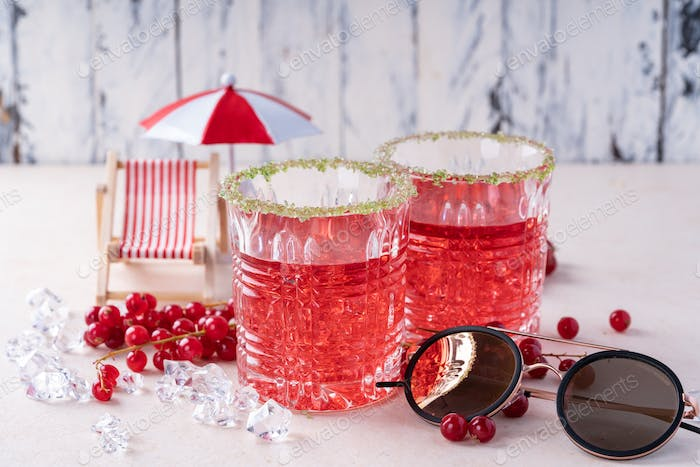 Summer red currant and cranberry cocktail