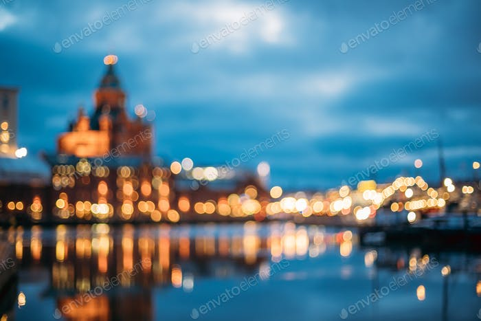 Helsinki, Finland. Abstract Blurred Bokeh Architectural Urban Ba