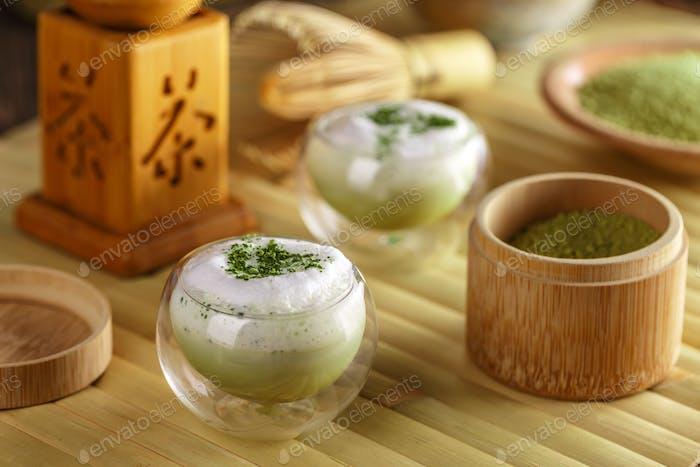 Glass of matcha green tea latte