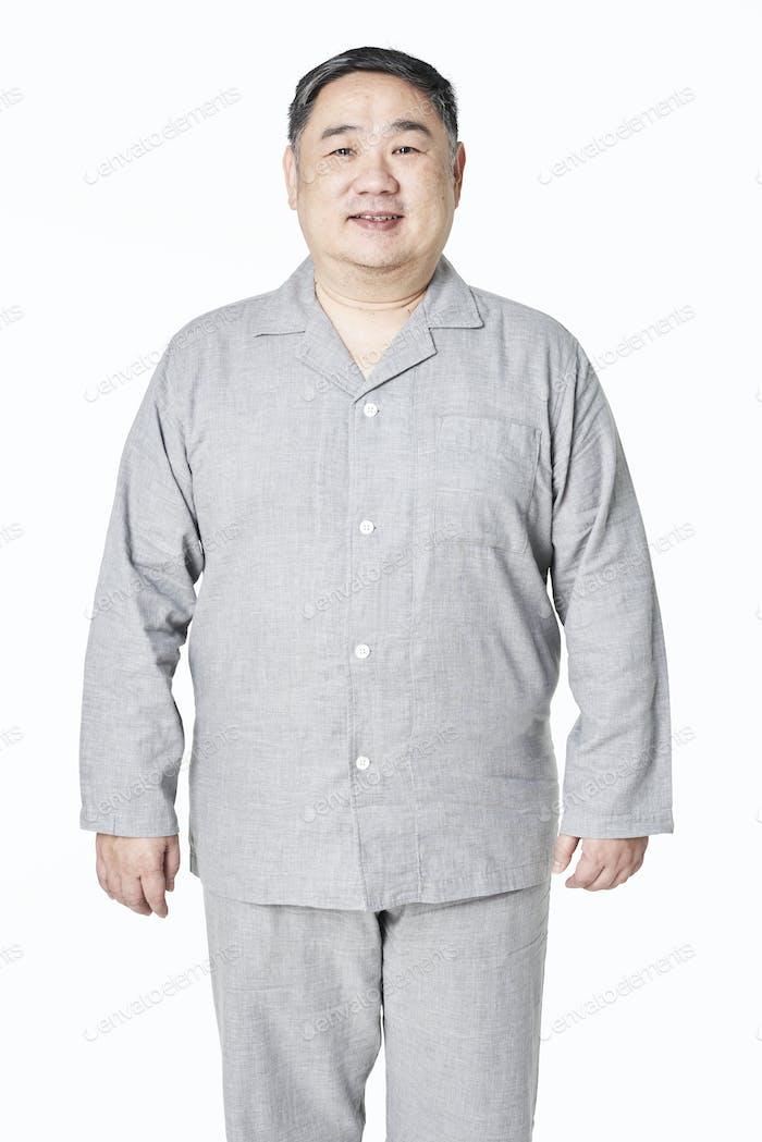 Plus size model gray sleepwear apparel mockup