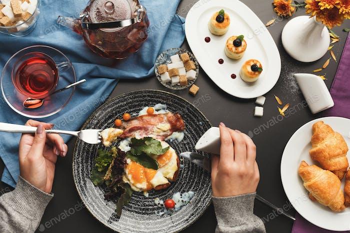Restaurant breakfast with various sweet treats