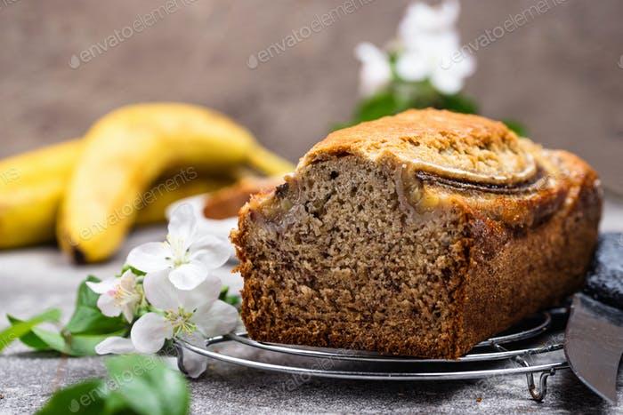 Banana bread or loaf cake
