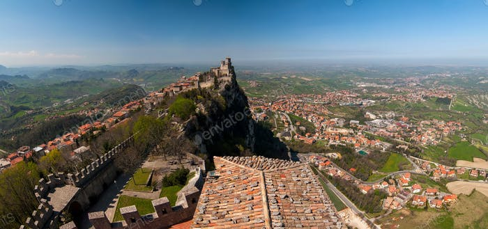 Panoramic view of the fortress of Guaita in San Marino Republic