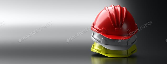 Safety hard hats stack on grey background, copy space. 3d illustration