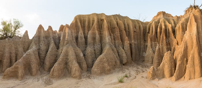 Panorama of erosion canyon at Koranna Mountain near Excelsior