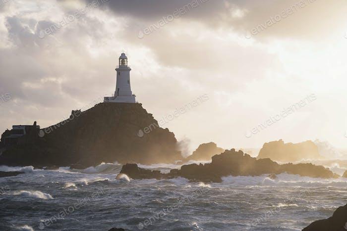 La Corbiere Lighthouse on the rocky shore
