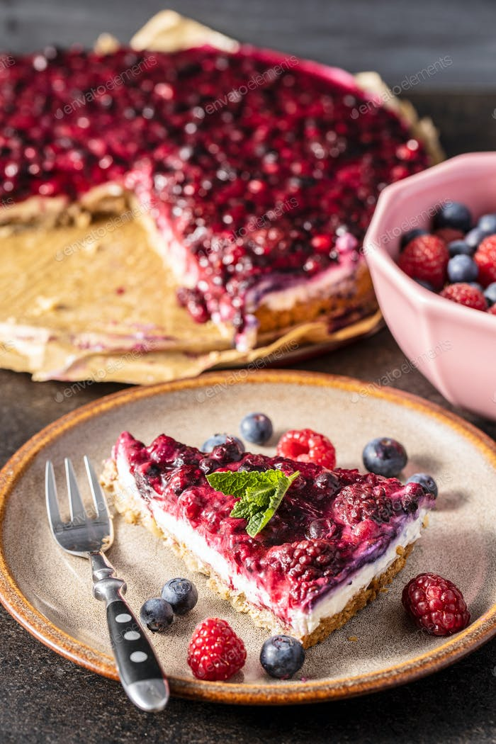 Sweet berry cake. Pie with blueberries and raspberries.