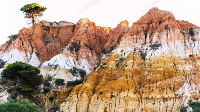 multicolor sandstone mountain near Albufeira city