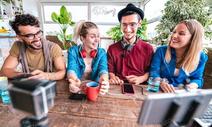 Digital native friends sharing video on streaming platform