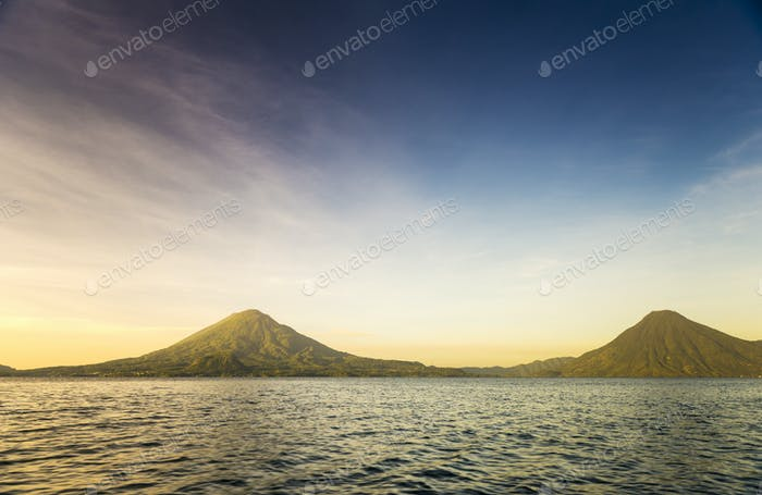 Volcanoes on Lake Atitlan, Guatemala