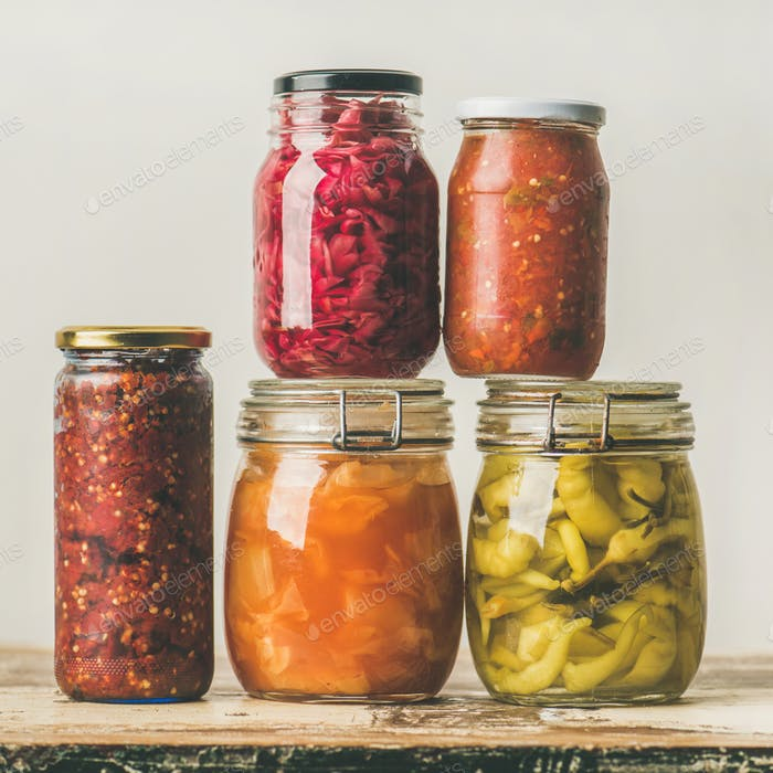 Autumn seasonal pickled or fermented vegetables. Home food canning concept