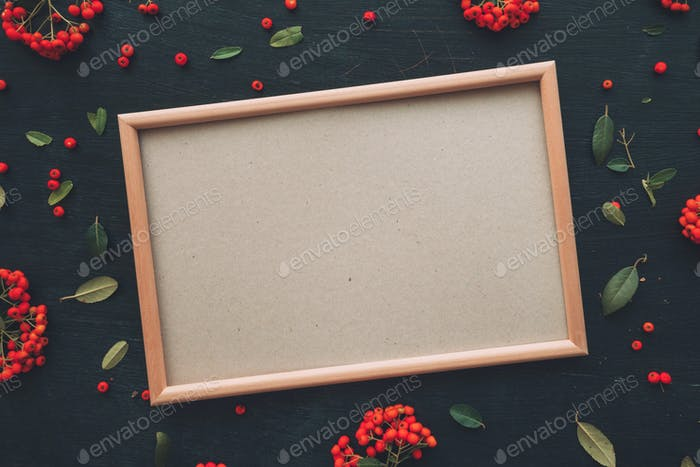 Flat lay blank picture mock up copy space