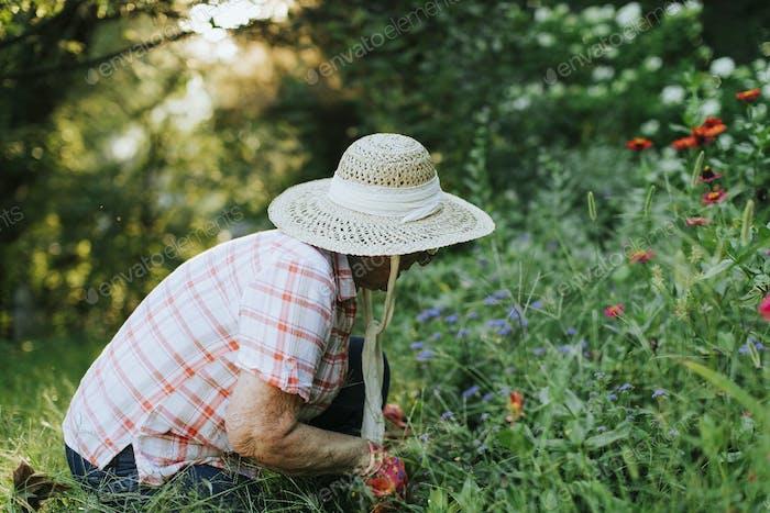 Senior woman tending to her garden