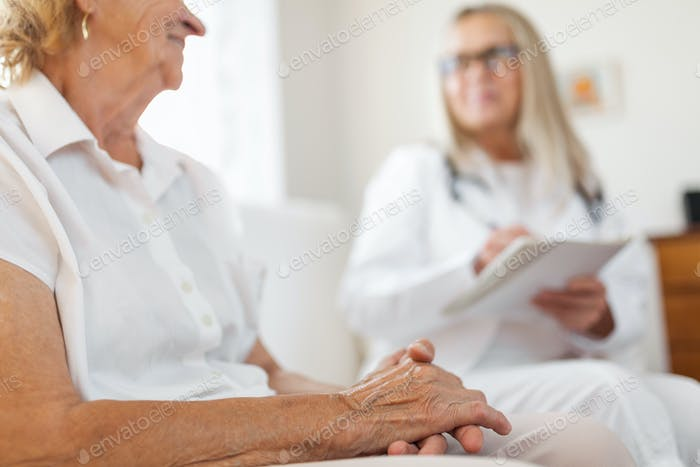 Senior woman during a medical exam with practitioner