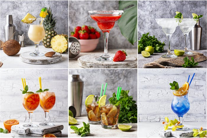 Different summer cocktails. Food collage