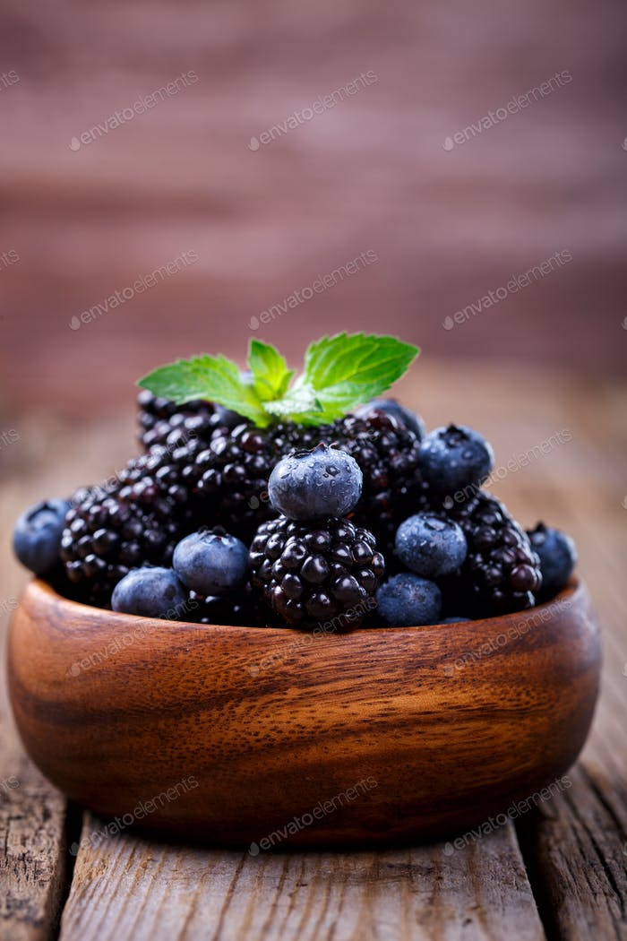 Blackberry and Blueberry .Fresh Berry.Food or Healthy diet