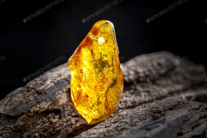 Natural amber. A piece of yellow transparent natural amber on large piece of dark stoned wood