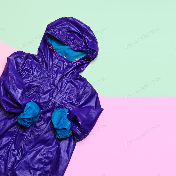 Cloak. Rain season. Urban street fashion. Minimal design