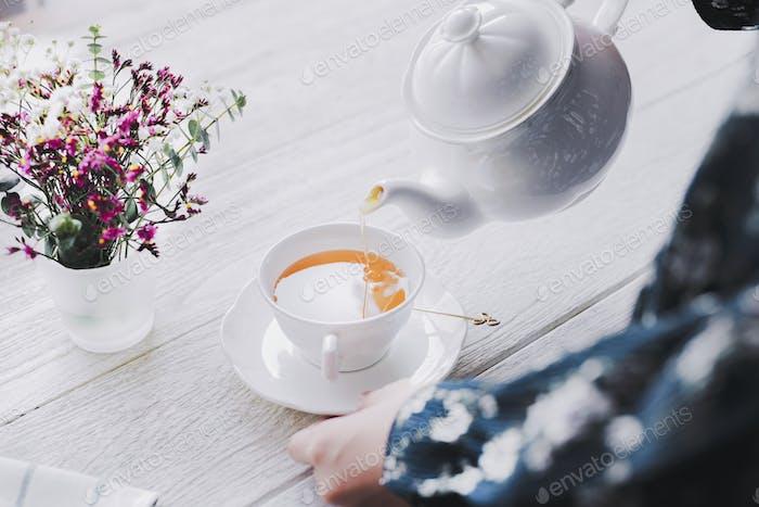 Tea desktop wallpaper background, white tone