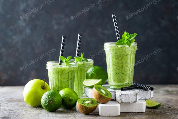 Vegan antioxidant green smoothie, organic cocktail