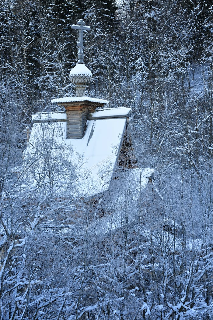 Small wooden church in a forest
